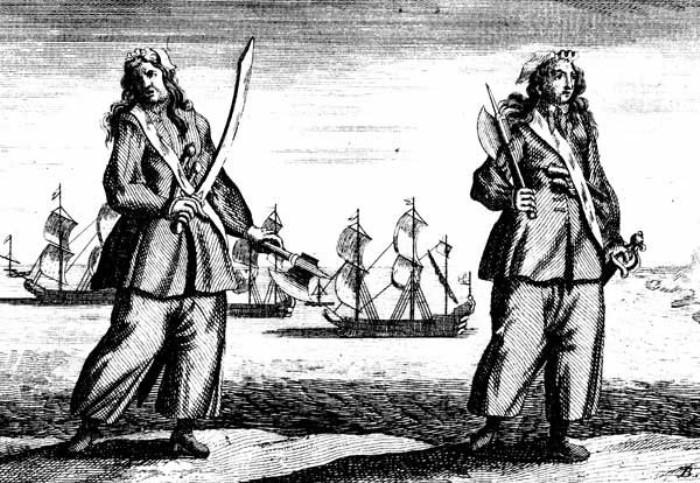Энн Бонни и Мэри Рид. Гравюра 1724 г.   Фото: masterok.livejournal.com